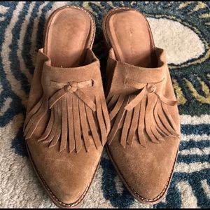 Madewell suede mule/clog with fringe